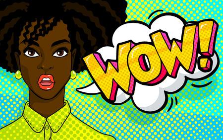 African american woman face in pop art style. Reklamní fotografie - 89667794