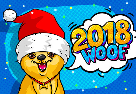 Dog in Santa Claus hat with open mouth and speech bubble and text 2018, can be used as banner or comic background