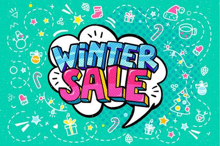 Winter Sale Message in pop art style Illustration