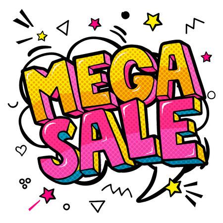 Mega sale message in pop art style. Illustration