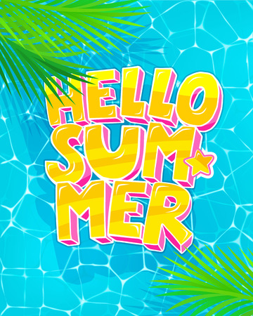 Hello Summer typography with colored background.