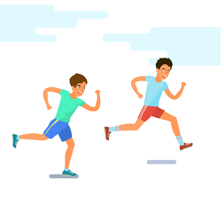 Concept of Sport and activity people. Two men running. Jogging cartoon character. Sprint marathon. Flat design, vector illustration.