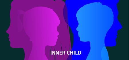 Concept of inner child illustration on dark background. Stock Illustratie