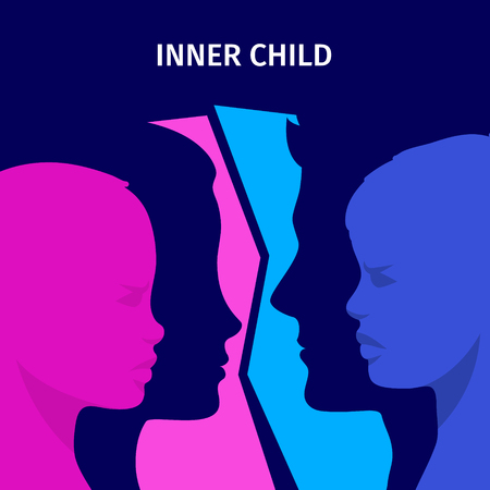 Concept of inner child. Silhouette of a man and woman showing their inner child living in their mind. Flat design, vector illustration. Stock Illustratie