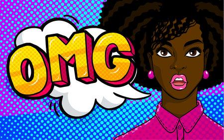 African american woman face in pop art style. Stock Illustratie