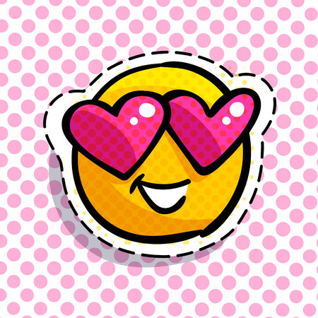 Smile emoticon wearing heart sunglasses on pink dotted background. Vector illustration. Illustration