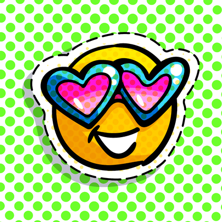 Smile emoticon wearing heart sunglasses on green dotted background. Vector illustration.