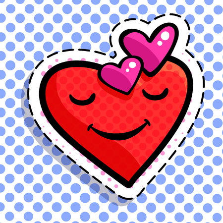 Red smiling heart vector illustration on blue dotted background.
