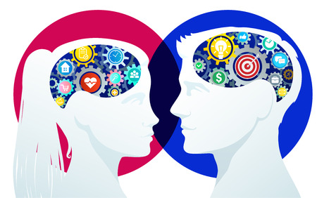 Concept of idea. Male and female silhouettes with gears on white background. Çizim