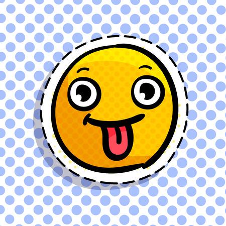 Smile shows tongue. Illustration
