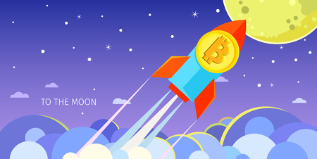 Concept of Crypto-currency. Rocket flying to the moon with bitcoin icon.