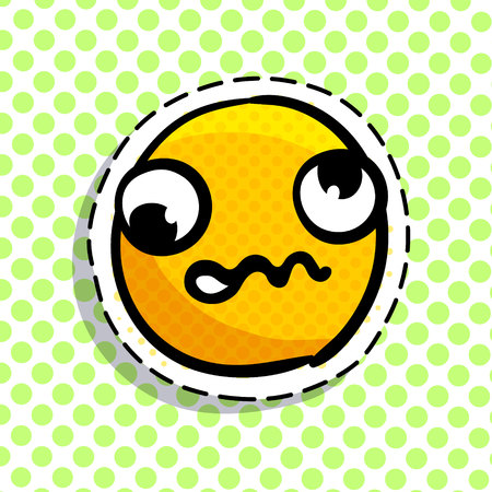 Discouraged yellow smile isolated on colorful background.
