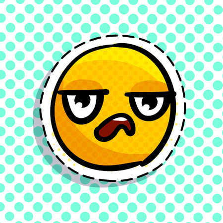 Tired yellow emoji vector illustration
