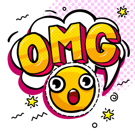 OMG in comic speech bubble with heart emoji. Message in pop art comic style with hand drawn smile. Vector illustration. Çizim