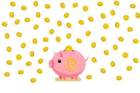 Concept of saving of crypto currency. Piggy bank with bitcoin. Flat design, vector illustration.