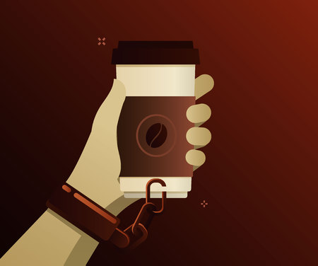 Concept of coffee addiction. Coffee is chained to the hand on a brown background. Flat design, vector illustration.