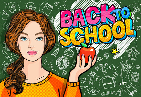 Young woman, teacher in front of a blackboard Stock Vector - 101222963