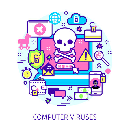 Concept of virus, piracy, hacking and security. Illustration