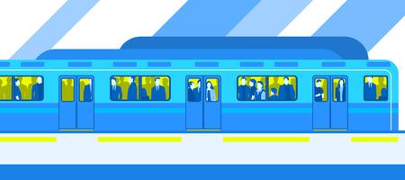 People in city subway train public transport Illustration