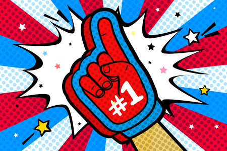 Hand in the glove of a sports fan raised up celebrating win and Goal speech bubble with stars and clouds in pop art style. Vector colorful illustration in retro comic style.