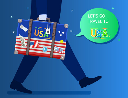 Concept of travel or studying English. Let is go travel message. A businessman is walking and holding a suitcase with american flag and landmarks. Flat design, vector illustration