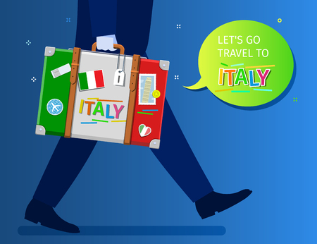 Concept of travel to Italy or studying Italian. Let is go travel message. A businessman is walking and holding a suitcase with Italian flag and landmarks. Flat design, vector illustration