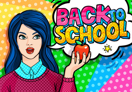 Concept of education. Young woman, teacher in pop art style holding red apple . Back to school. Vector illustration.