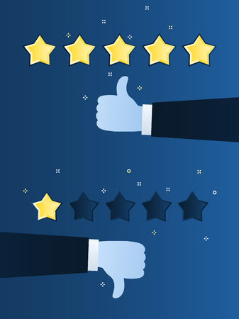 Concept of rating. Customer review. One and five star rating. Thumb down, dislike. Thumb up, like on blue background. Flat design vector illustration Illustration