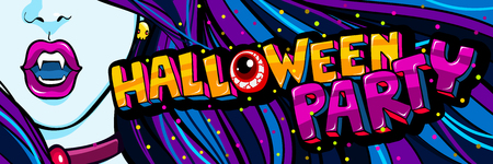 Halloween illustration. Open blue mouth with fangs and Halloween Party Message in pop art style.