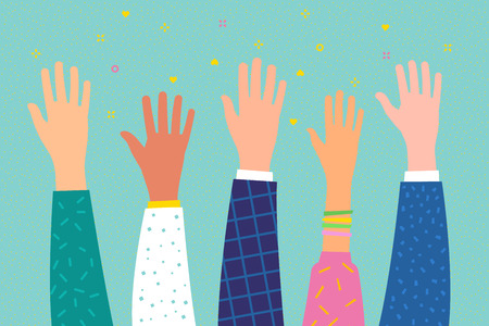 Concept of volunteering or education. Raised hands. Flat design, vector illustration.
