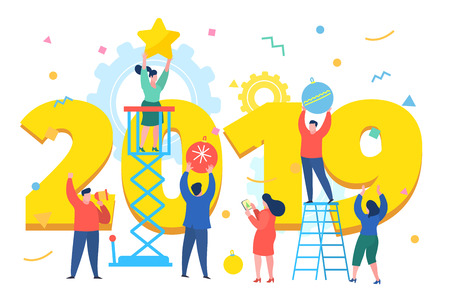 New Year business concept. Business people building a numbers 2019. Preparing to meet the new year . Office Team are preparing to meet the new year. Flat design, vector illustration. Фото со стока - 127646972