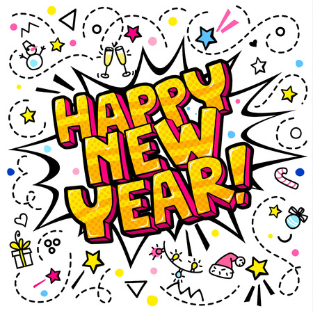Happy New Year message in pop art style. Illustration