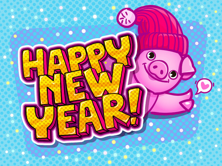 Pig is a symbol of 2019 new year. Head of the Pig in pop art style Illustration
