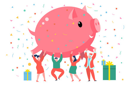 New Year business concept. Business people holding symbol of 2019 big pink pig. Flat design, vector illustration.