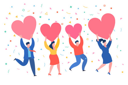 Men and women hold hearts. Valenine day. Love and relationship. Illustration