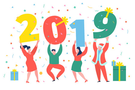 New Year business concept. Business people holding numbers 2019. Office Team are preparing to meet the new year. Flat design, vector illustration. Фото со стока - 126893815
