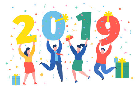 New Year business concept. Business people holding numbers 2019. Office Team are preparing to meet the new year. Flat design, vector illustration. Иллюстрация