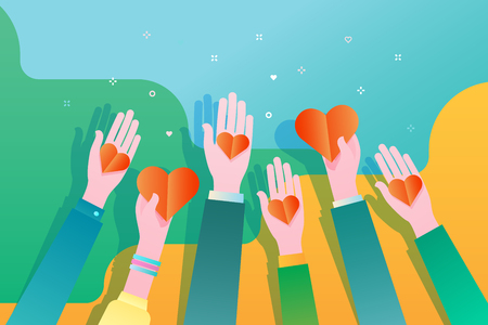 Concept of charity and donation. Give and share your love to people. Hands holding a heart symbol. Flat design, vector illustration.