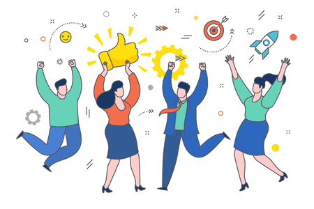 Concept of likes and positive feedback. Happy woman with prize Thumbs up sign. Business woman holds the prize over head and people jumping around her. Flat design, vector illustration. Фото со стока - 126672868