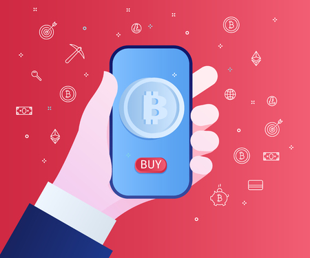 Concept of Crypto currency. Businessman holds a smartphone in his hand with symbol of bitcoin and button Buy on screen. Flat design, vector illustration on red background.