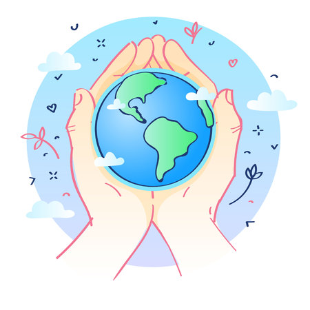 Concept of ecology. Human hands holding Earth. World environment day. Hand drawn vector illustration.