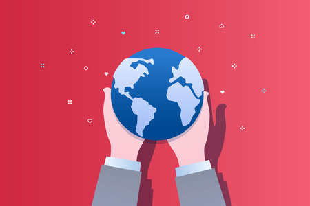Concept of ecology. Human hands holding Earth. World Environment Day. Flat design, vector illustration.