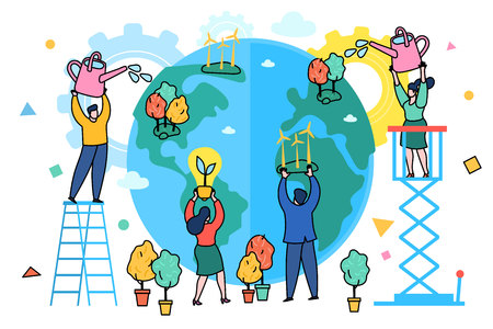 Concept of ecology. World Environment Day. Little people prepare for the day of the Earth, save the planet, save energy, the hour of the Earth, the concept of the Earth day. Flat design, vector illustration.
