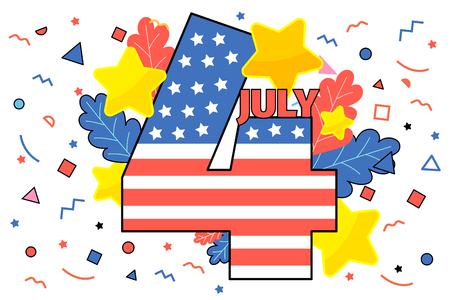 Happy 4th of July. Concept of Independence Day of USA. July Fourth. Flat design, vector illustration. Фото со стока - 126430041