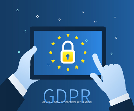 Concept of General Data Protection Regulation in European Union. EU GDPR. Hands holding a tablet with lock icon and european flag. Flat design, vector illustration Фото со стока - 126430042