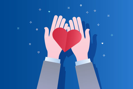 Concept of charity and donation. Give and share your love to people. Hands holding a heart symbol. Flat design, vector illustration on blue background.. Фото со стока - 126430045