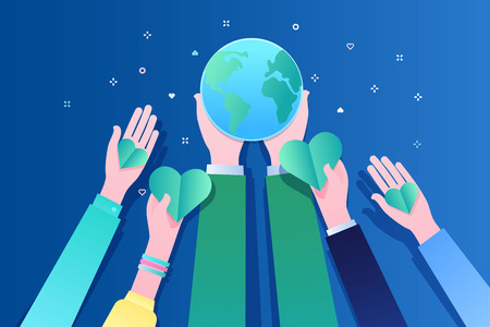 Concept of ecology. Human hands holding Earth and hearts. World Environment Day. Flat design, vector illustration.