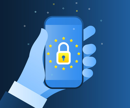 Concept of General Data Protection Regulation in European Union. EU GDPR. Hands holding a mobile phone with lock icon and european flag. Flat design, vector illustration