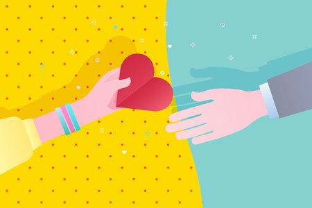 Concept of charity and donation. Give and share your love to people. The hand of the woman gives the symbol of heart to the other hand. Flat design, vector illustration. Фото со стока - 126430051