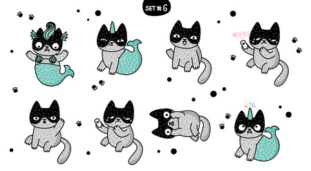 Cute cartoon cats with different emotions. Sticker collection. Vector set of doodle emoji and emoticons. Set 6 Фото со стока - 126430052